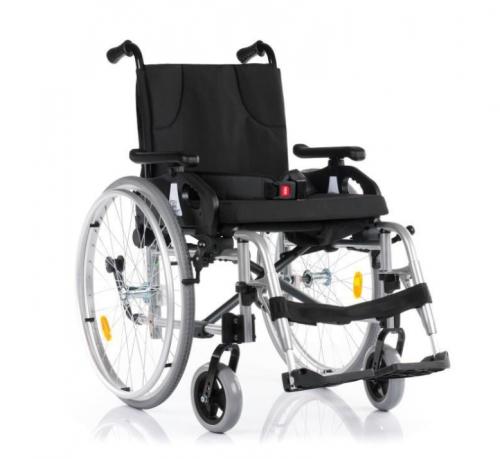 Silver aluminum wheelchair
