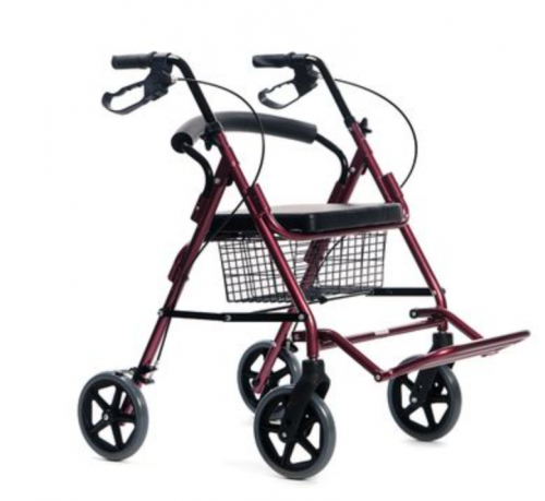 Rose 4-wheel rollator with legs support